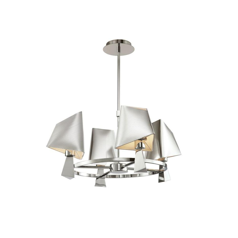 Bel Air Lighting 4-Light Polished Chrome Modern Chandelier with Metal Shades