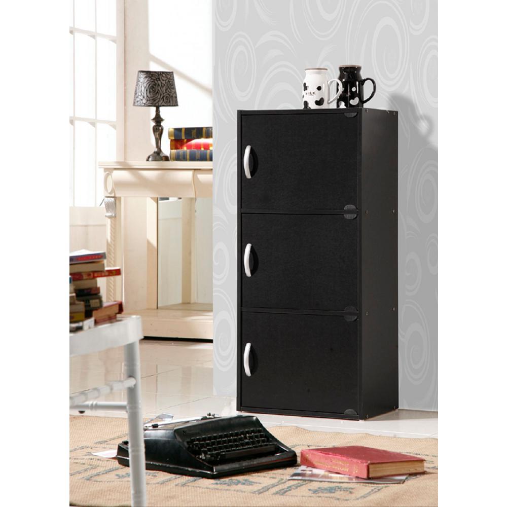 hodedah 3 shelf 36 in h black bookcase with doors hid3 black the home depot. Black Bedroom Furniture Sets. Home Design Ideas