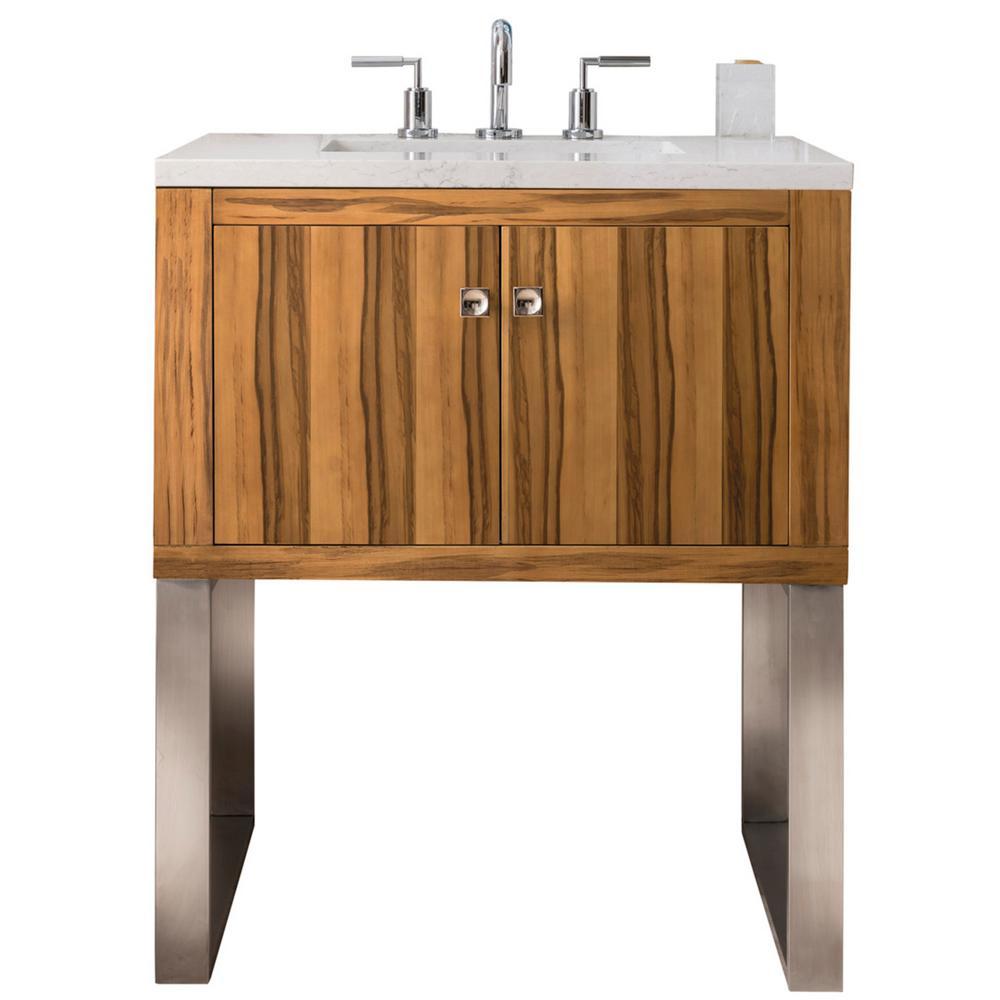 Westlake 30 in. Single Bath Vanity in Natural Apple Wood with Marble Vanity Top in Galala Beige with White Basin