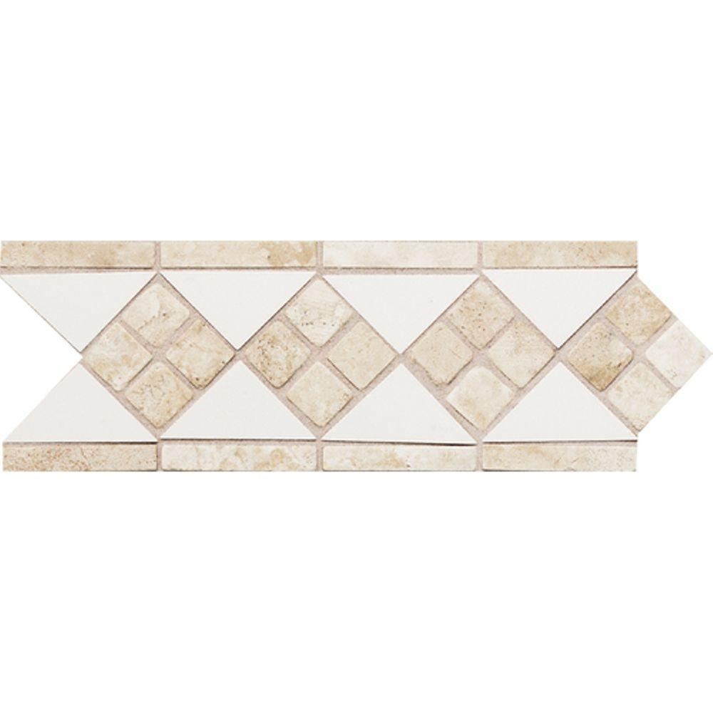 Daltile tile flooring the home depot fashion accents whitetravertine 4 in x 12 in ceramic listello wall dailygadgetfo Image collections
