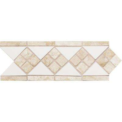 Fashion Accents White/Travertine 4 in. x 12 in. Ceramic Listello Wall Tile
