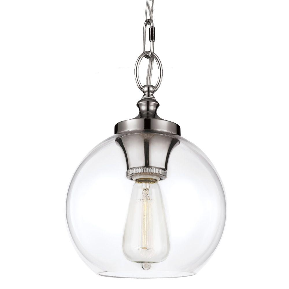 Feiss Tabby 1-Light Polished Nickel Mini Pendant