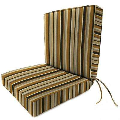 Sunbrella Espresso Stripe Outdoor Dining Chair Cushion
