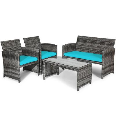 4-Piece Wicker Patio Conversation Set with CushionGuard Turquoise Cushions