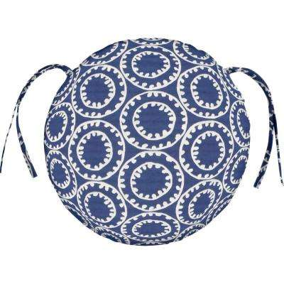 ODL Ring A Bell   Navy Round Outdoor Seat Cushion