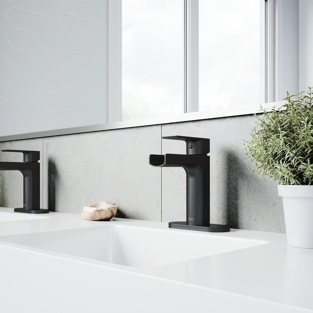 Ileana Single Hole Single-Handle Bathroom Faucet with Deck Plate in Matte Black