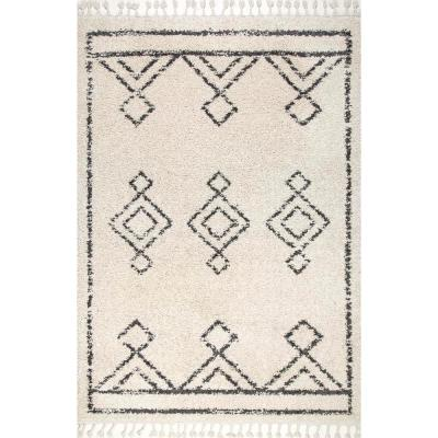 Mackie Moroccan Diamond Shag Off-White 6 ft. Round Rug