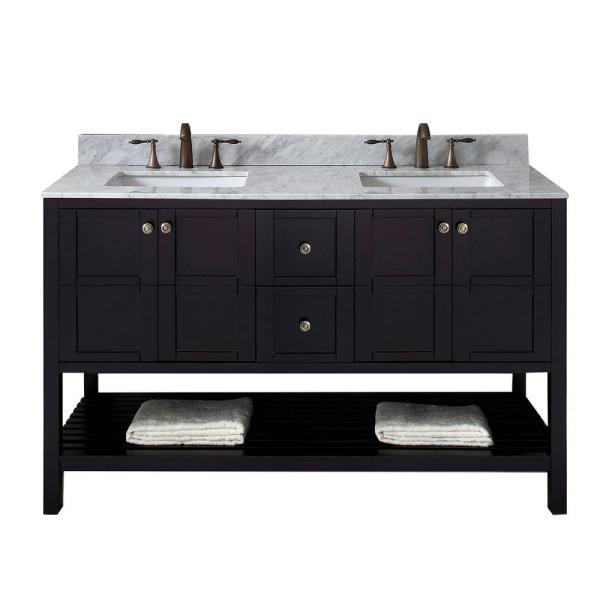 Winterfell 60 in. W Bath Vanity in Espresso with Marble Vanity Top in White with Square Basin