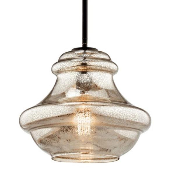Kichler Everly 1 Light Olde Bronze Schoolhouse Pendant Light With Mercury Glass 42044ozmer The Home Depot