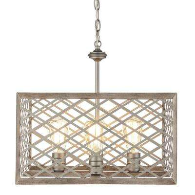 4-Light Gilded Pewter Pendant with Interweaving Open Cage Frame