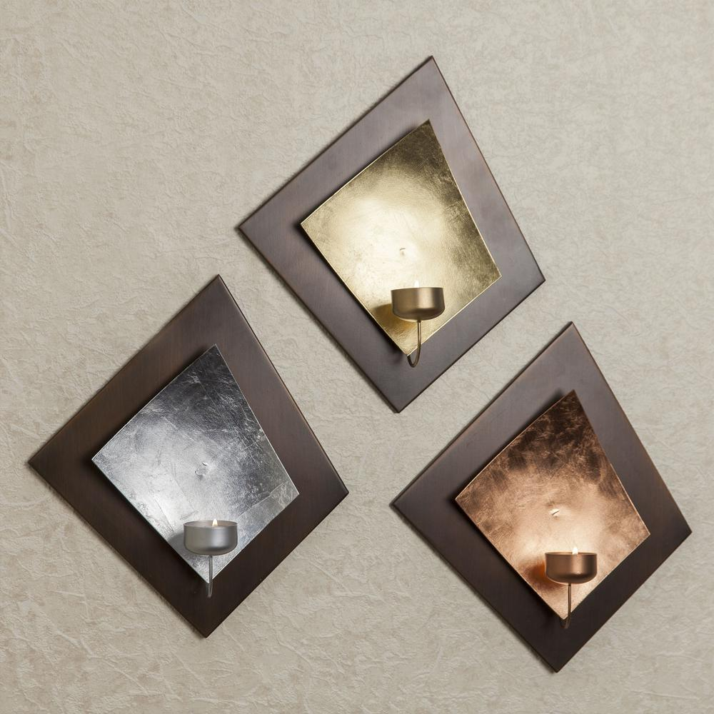 Rhombus Plaque Metal Tea Light Candle Holders with Gold, Silver &
