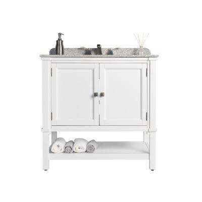 Ashlyn Single 36 in. W x 22 in. D Bath Vanity in White with Granite Vanity Top in White with Gray Basin