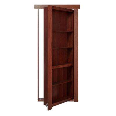 36 in. x 80 in. Flush Mount Assembled Hickory Cherry Stained Right-Handed Out-Swing Solid Core Interior Bookcase Door