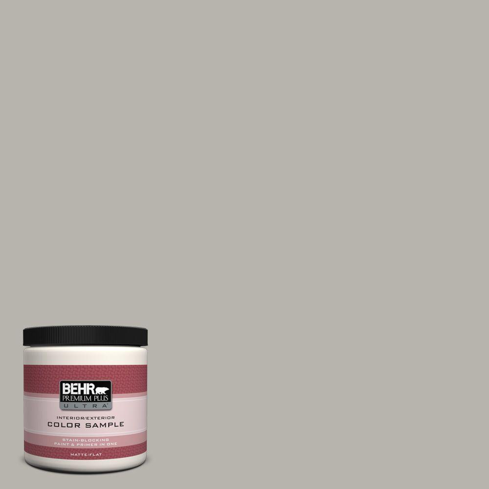 BEHR Premium Plus Ultra 8 oz. #UL260-9 Ashes Flat Interior/Exterior Paint and Primer in One Sample