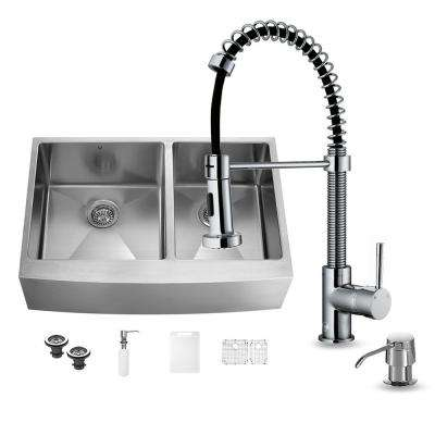 All-in-One Farmhouse Apron Front Stainless Steel 36 in. 0-Hole Double Basin Kitchen Sink and Faucet Set in Chrome