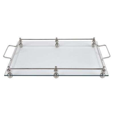 18.5 in. x 12.5 in. Classic Glass Serving Tray with Chrome Border