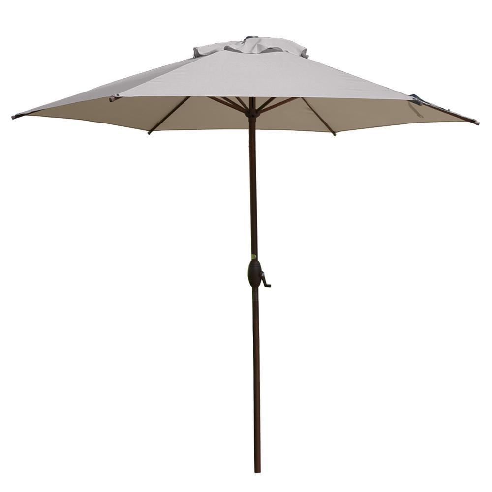 9 ft. Market Outdoor Patio Umbrella with Push Button Tilt and Crank in Beige