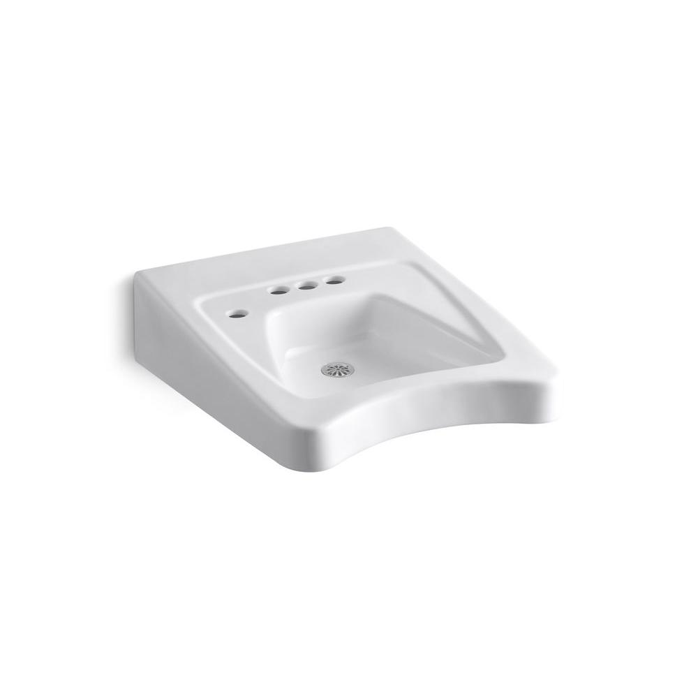 KOHLER Morningside Wall-Mounted Vitreous China Bathroom Sink in White with Overflow Drain
