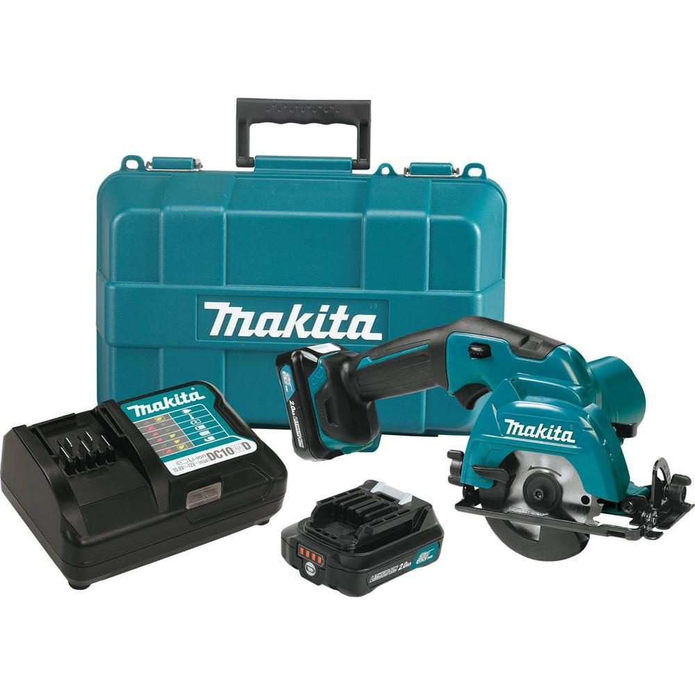 Makita 12-Volt Max CXT Lithium-Ion Cordless 3-3/8 in. Circular Saw Kit, Case (2.0Ah)