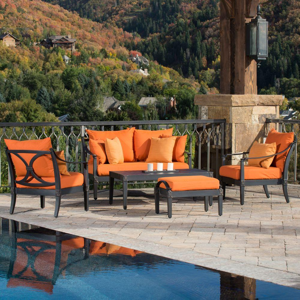 Rst Brands Astoria 5 Piece Patio Seating Set With Tikka Orange Cushions