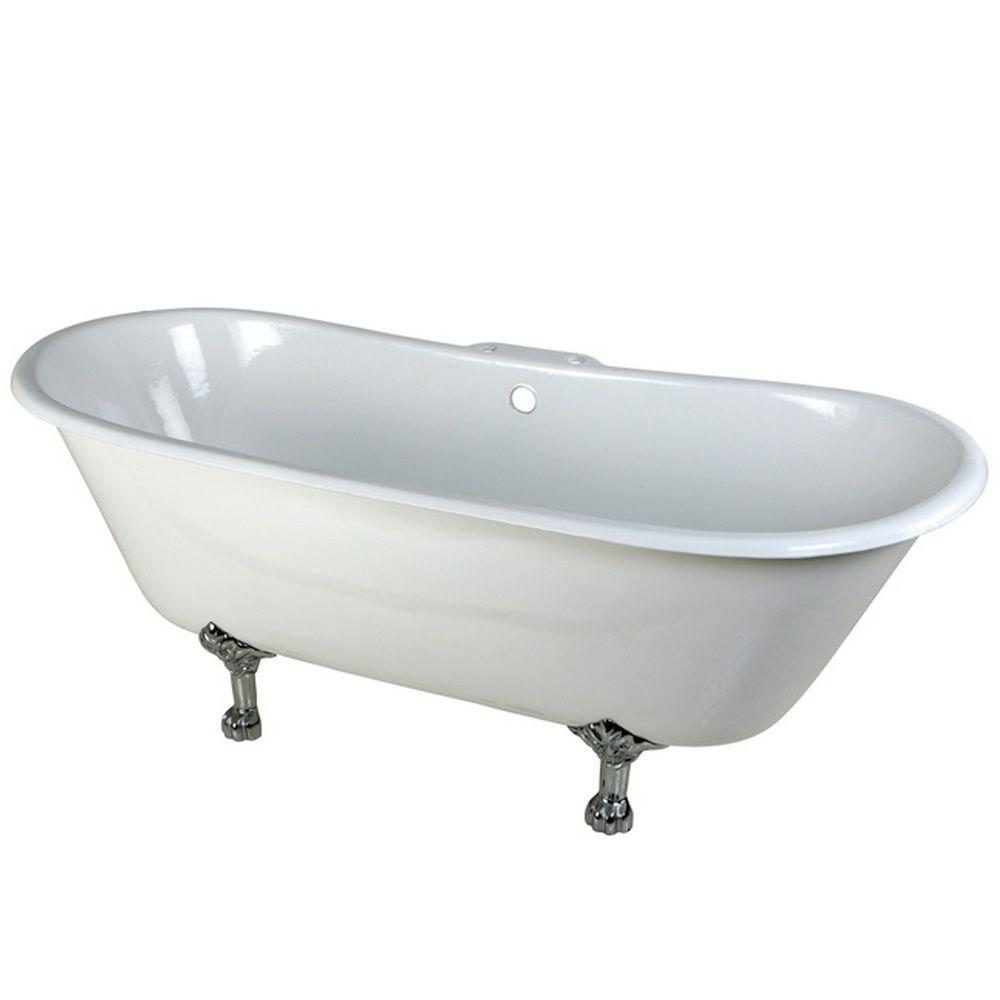5.6 ft. Cast Iron Polished Chrome Claw Foot Double Slipper Tub