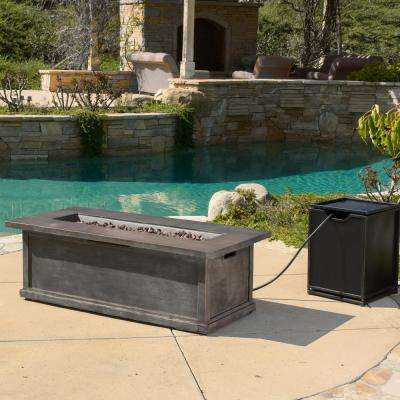 Anchorage 56 in. x 18 in. Rectangular Propane Outdoor Fire Pit Table with Tank Holder