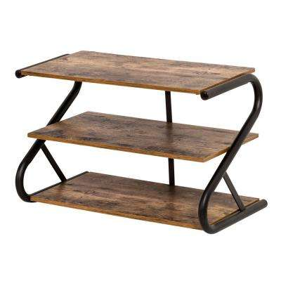 Z-Frame 9-Pair Rustic Finish Shoe Organizer