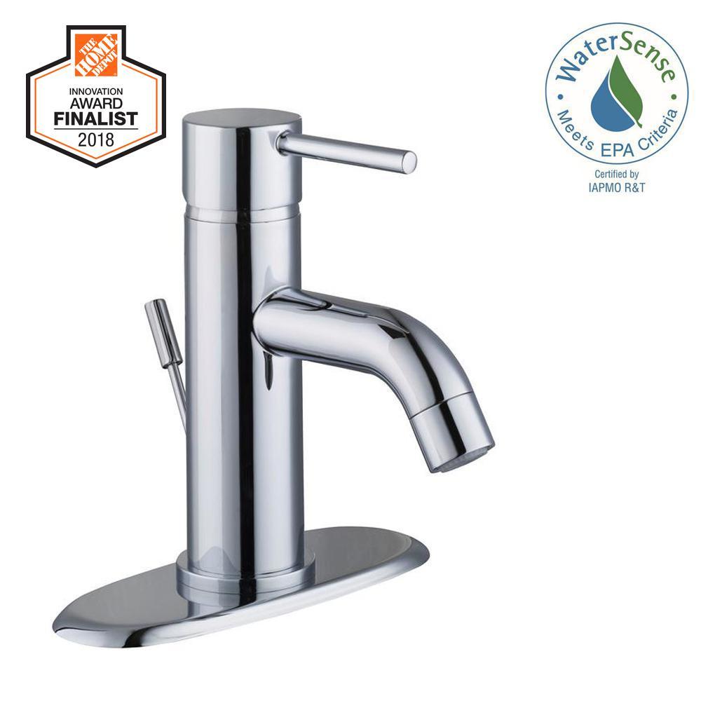 Modern Single Hole Single-Handle Low-Arc Bathroom Faucet in Chrome