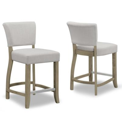 24.75 in. Aleck Beige Fabric with Antique Finish Wood Legs  Counter Stool (Set of 2)