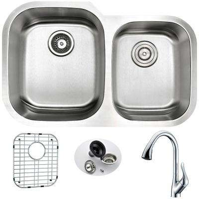 MOORE Undermount Stainless Steel 32 in. Double Bowl Kitchen Sink and Faucet Set with Accent Faucet in Brushed Satin