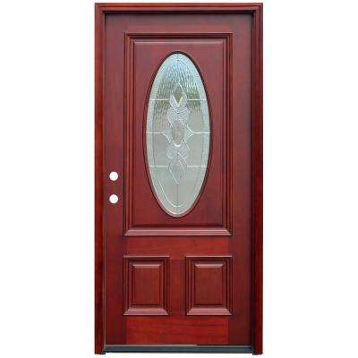 Traditional 3/4 Oval Stained Mahogany Wood Prehung Front Door with 6 in. Wall Series