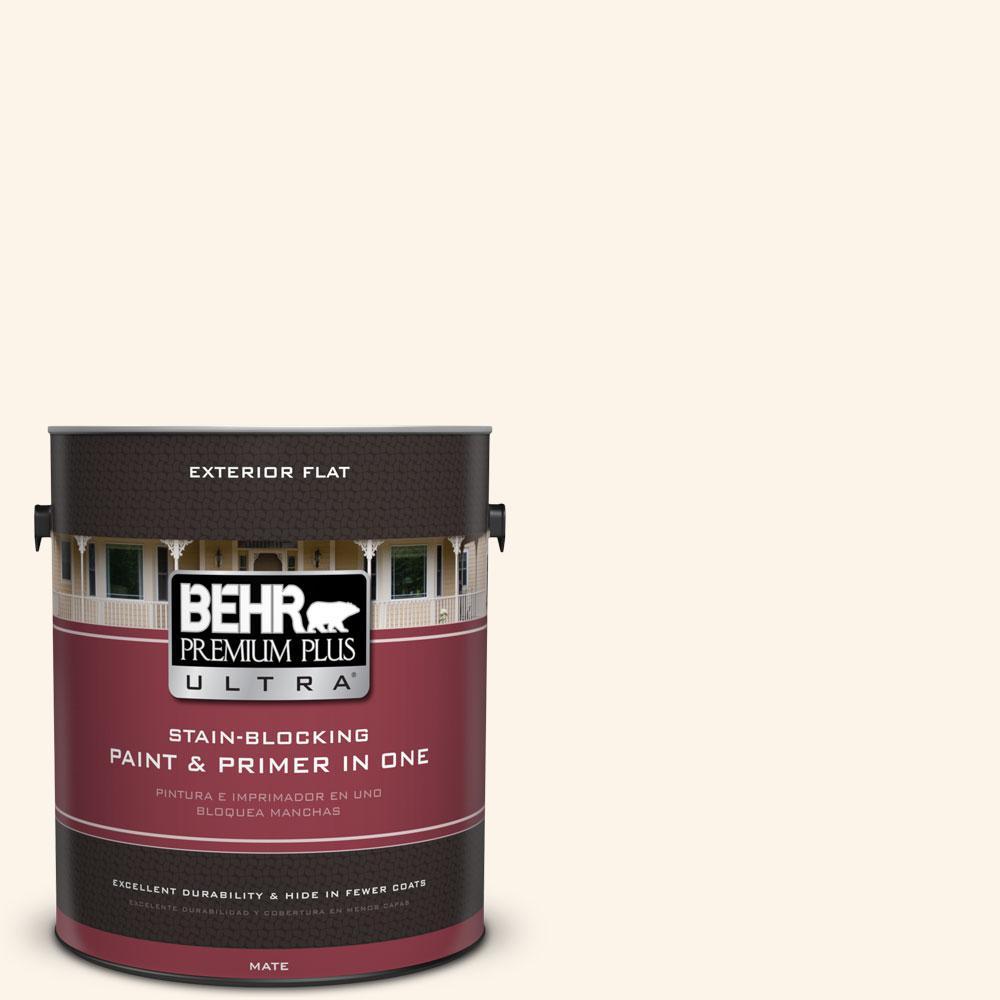 BEHR Premium Plus Ultra 1-gal. #W-D-400 Cotton Fluff Flat Exterior Paint