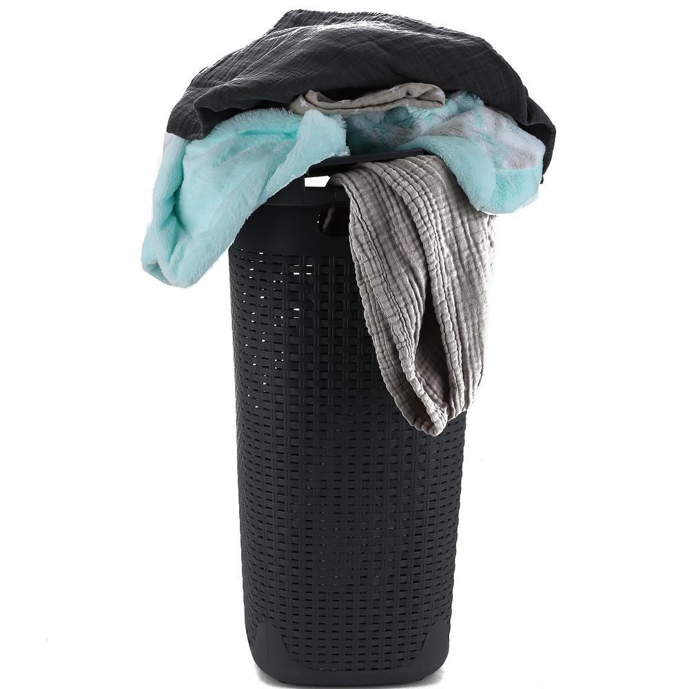 60 l Grey Plastic Slim Laundry Basket Laundry Hamper with Cutout Handles Dirty Clothes Storage