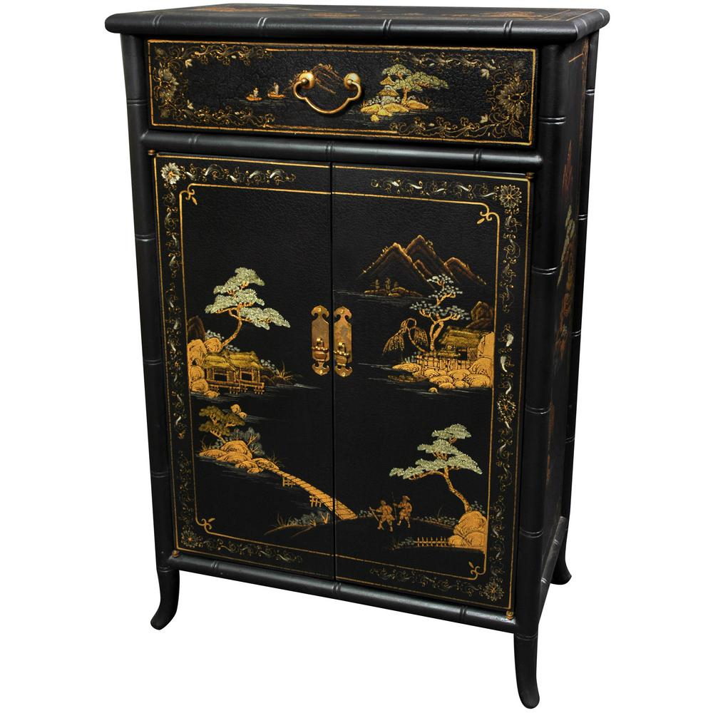 Oriental furniture black lacquer japanese shoe cabinet