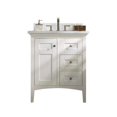 Palisades 30 in. W Single Vanity in Bright White with Soild Surface Vanity Top in Arctic Fall with White Basin