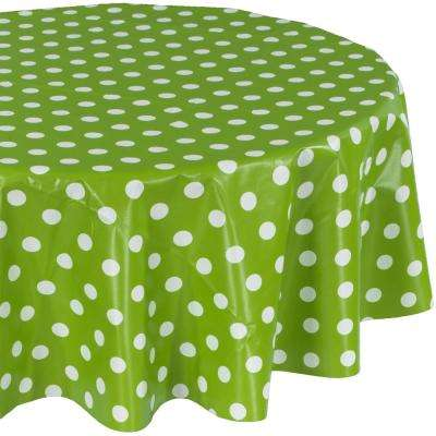 55 in. Green Round Indoor and Outdoor Sunflower Design Table Cloth for Dining Table