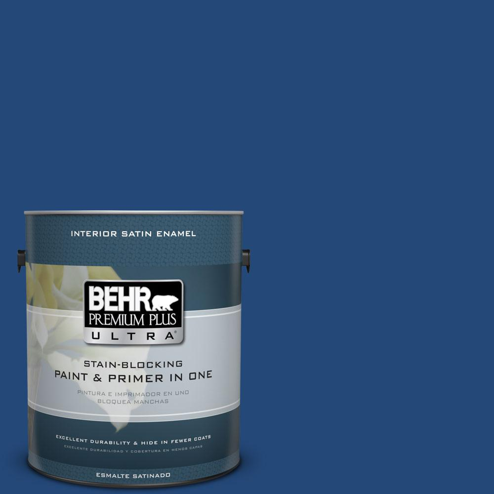 BEHR Premium Plus Ultra 1 gal. #S-H-590 Sailboat Satin Enamel Interior Paint and Primer in One