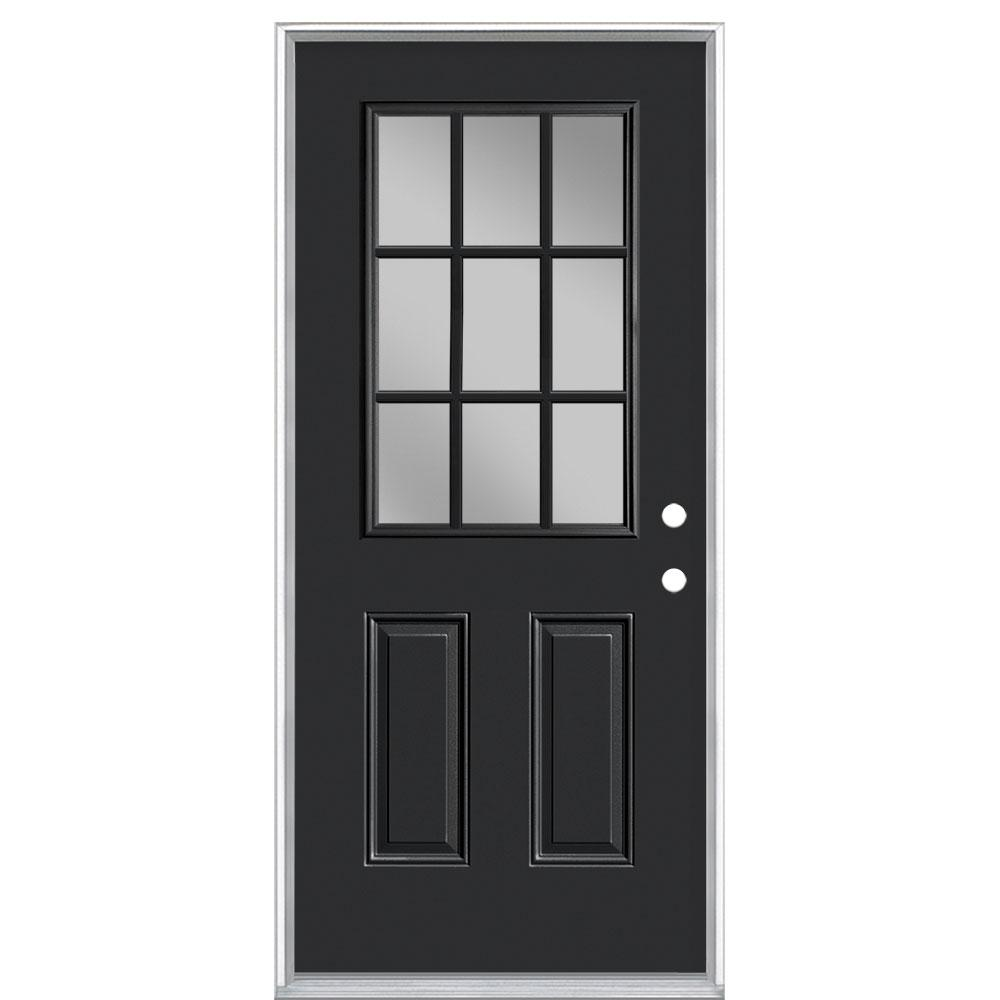 Masonite 36 in. x 80 in. 9 Lite Right-Hand Inswing Painted Steel Prehung Front Exterior Door No Brickmold