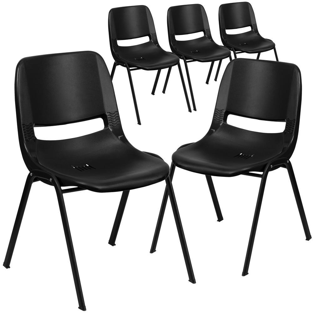 Black Plastic/Black Frame Plastic Stack Chairs (Set of 5)