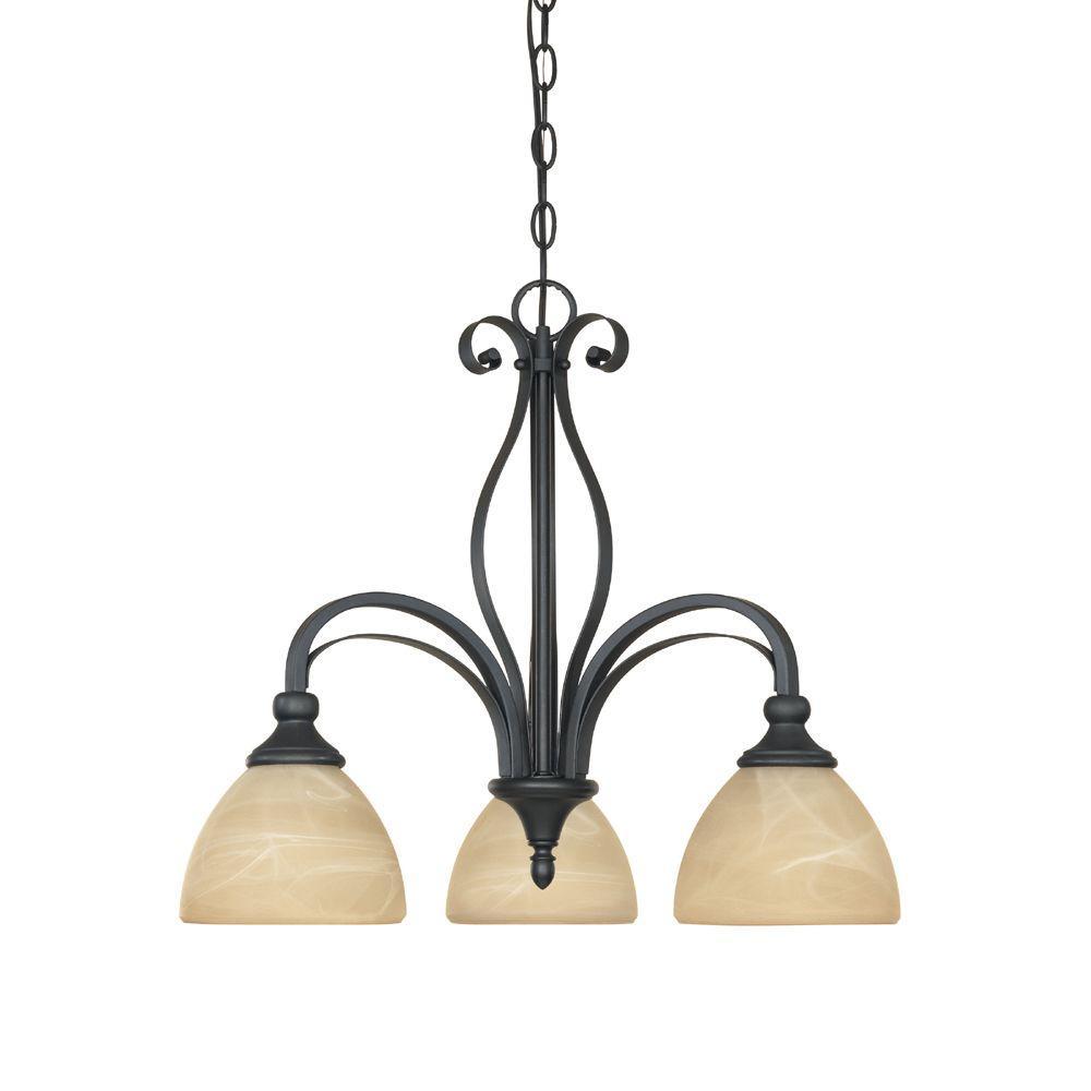 Designers Fountain Van Buren Collection 3-Light Burnished Bronze Inverted Hanging Chandelier