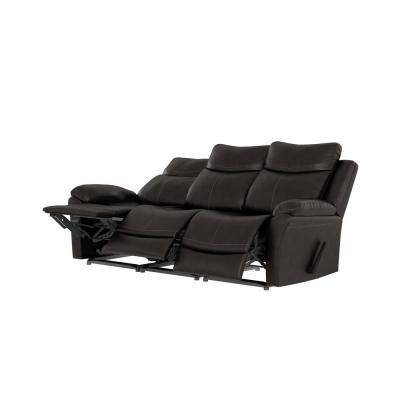 86.5 in. Coffee Brown Solid Fabric 3-Seat Wall Hugger Home Theater Sofa with Reclining