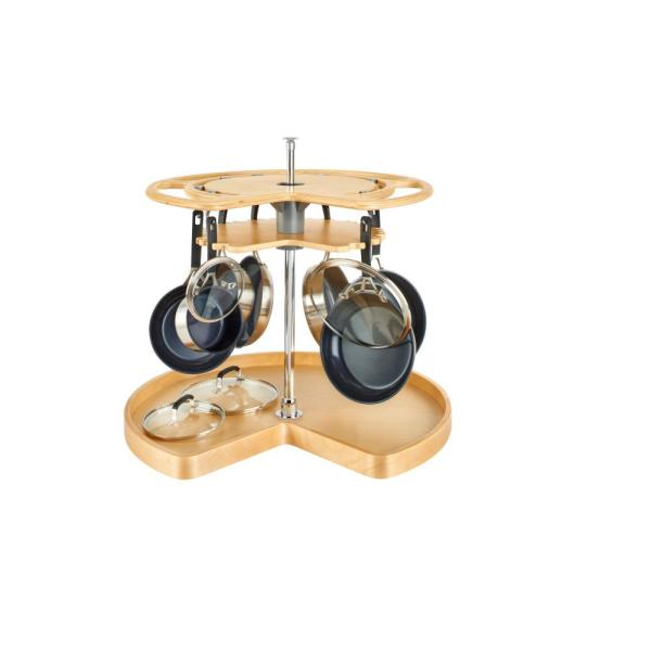 28 in. Wood Not-So-Lazy Susan 7 Hook Organizer