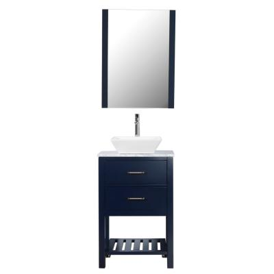 Santa Monica 24 in. W x 18 in. D Bath Vanity in Navy with Carra Marble Top in White with White Basin and Mirror