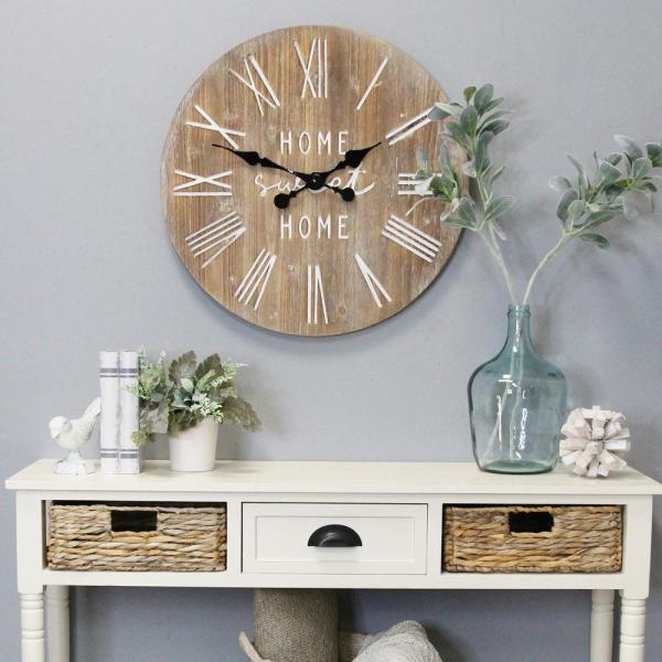 Stratton Home Decor 23 Wood Dale Wall Clock S23764 The Home Depot