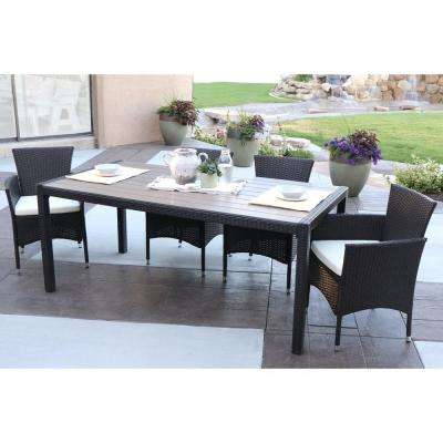 Brown Rattan 5-Piece Outdoor Dining Set with White Cushions