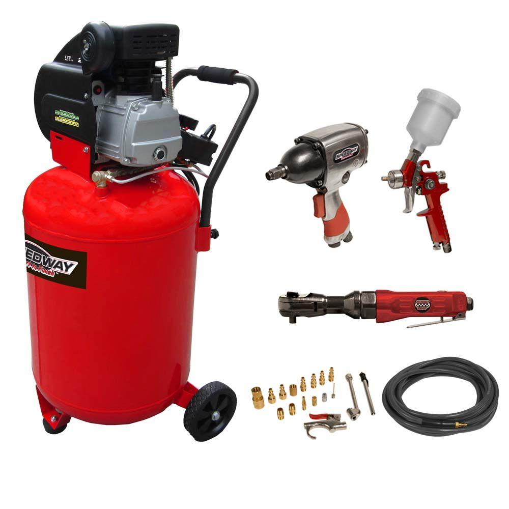 SPEEDWAY 20-Gal. Vertical Air Compressor with 20-Piece Air Tool and Accessory Kit-DISCONTINUED
