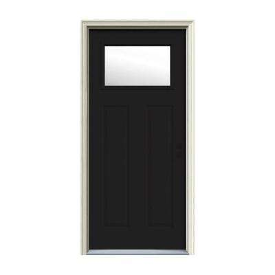 32 in. x 80 in. 1 Lite Craftsman Black Painted Steel Prehung Left-Hand Inswing Front Door w/Brickmould