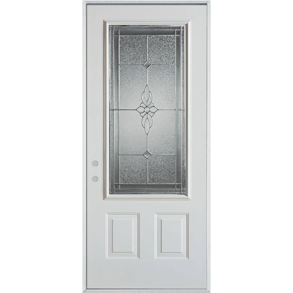 Stanley Doors 33.375 in. x 82.375 in. Victoria Zinc 3/4 Lite 2-Panel Painted White Right-Hand Inswing Steel Prehung Front Door