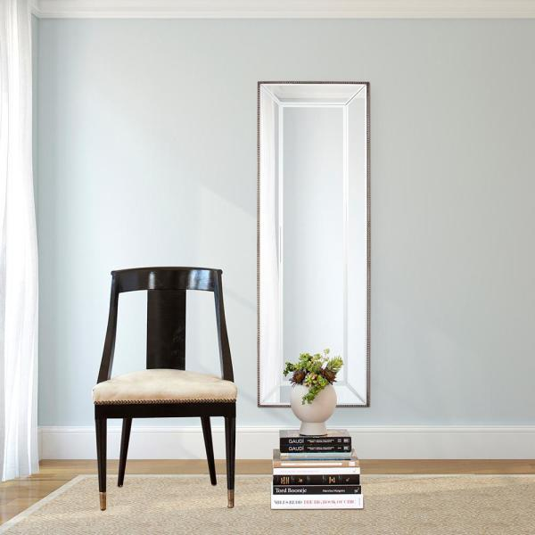 Large Rectangle Mirrored Frame Outlined In Champagne Silver Beaded Trim Modern Mirror (60 in. H x 20 in. W)