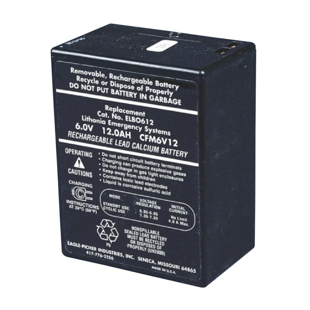 Lithonia Lighting Emergency Light Battery: Lithonia Lighting ELB 0612A 6-Volt Emergency Replacement